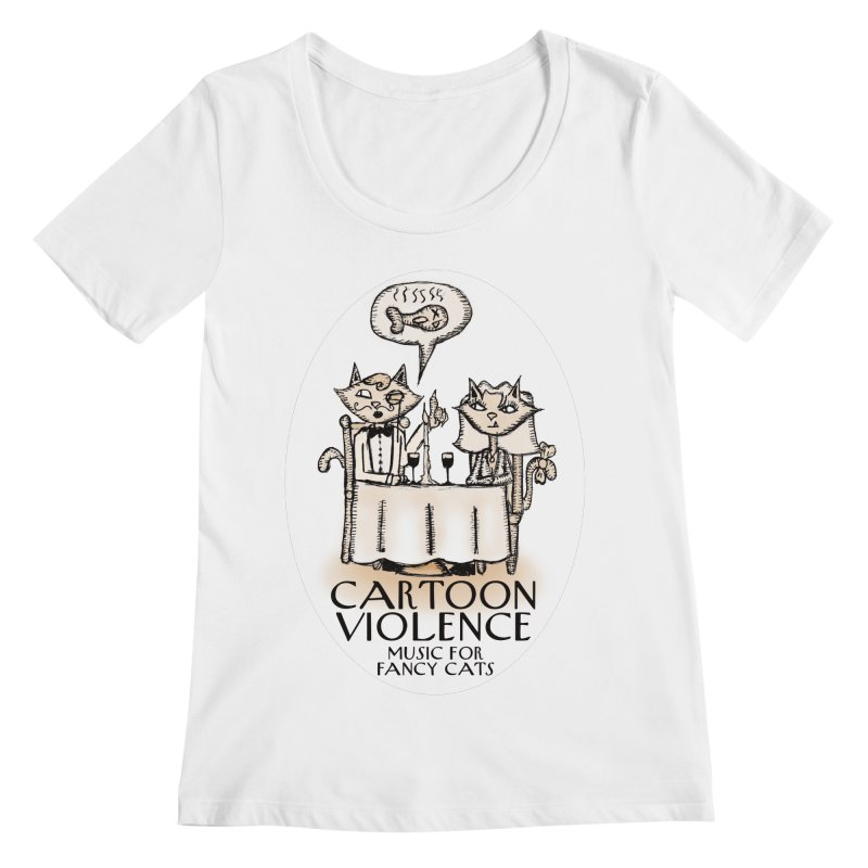 Fancy Cats Mew Yorker Women's Regular Scoop Neck by Shirts by Cartoon Violence