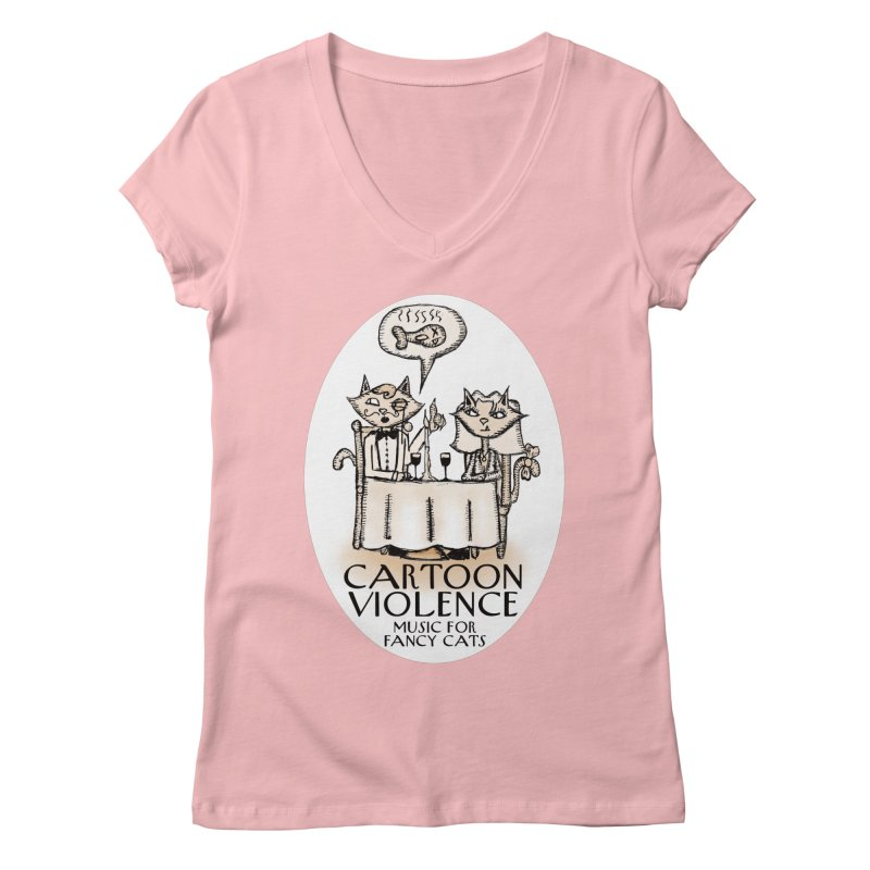 Fancy Cats Mew Yorker Women's Regular V-Neck by Shirts by Cartoon Violence