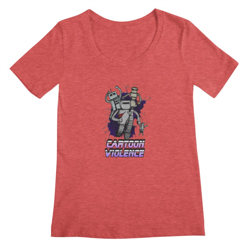 Night Of 1000 Robots Women's Regular Scoop Neck by Shirts by Cartoon Violence
