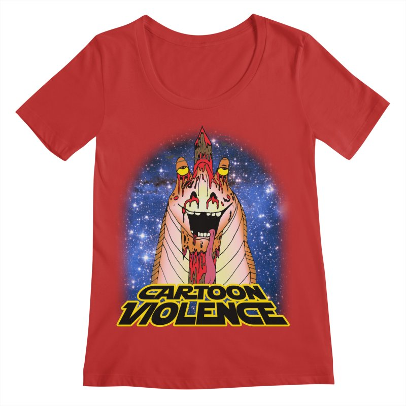 Jar Jar's Stupid Head Women's Regular Scoop Neck by Shirts by Cartoon Violence