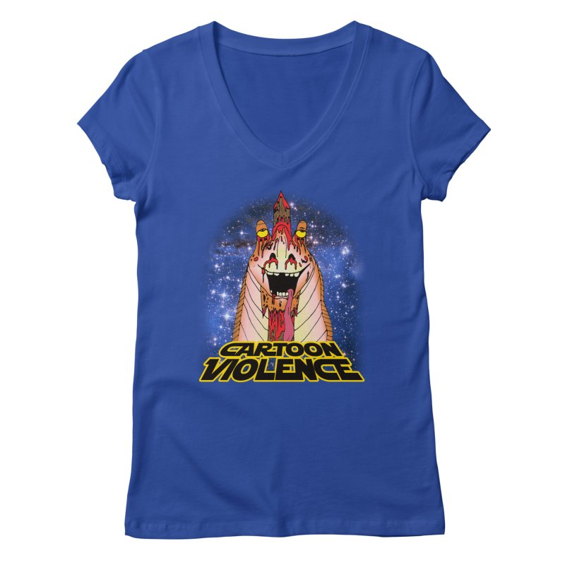 Jar Jar's Stupid Head Women's Regular V-Neck by Shirts by Cartoon Violence