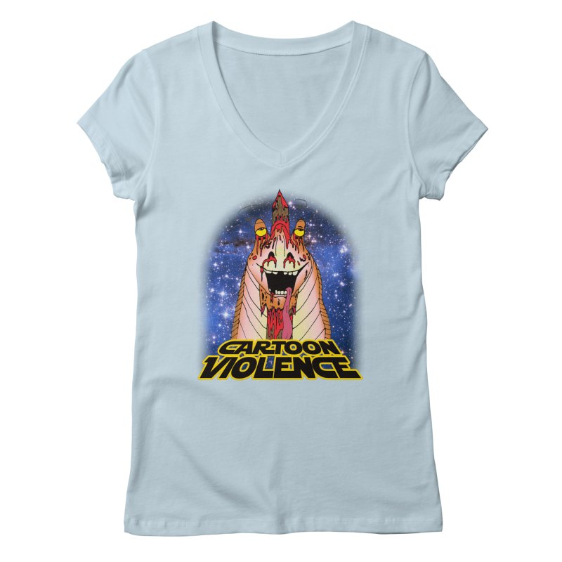 Jar Jar's Stupid Head Women's V-Neck by Shirts by Cartoon Violence