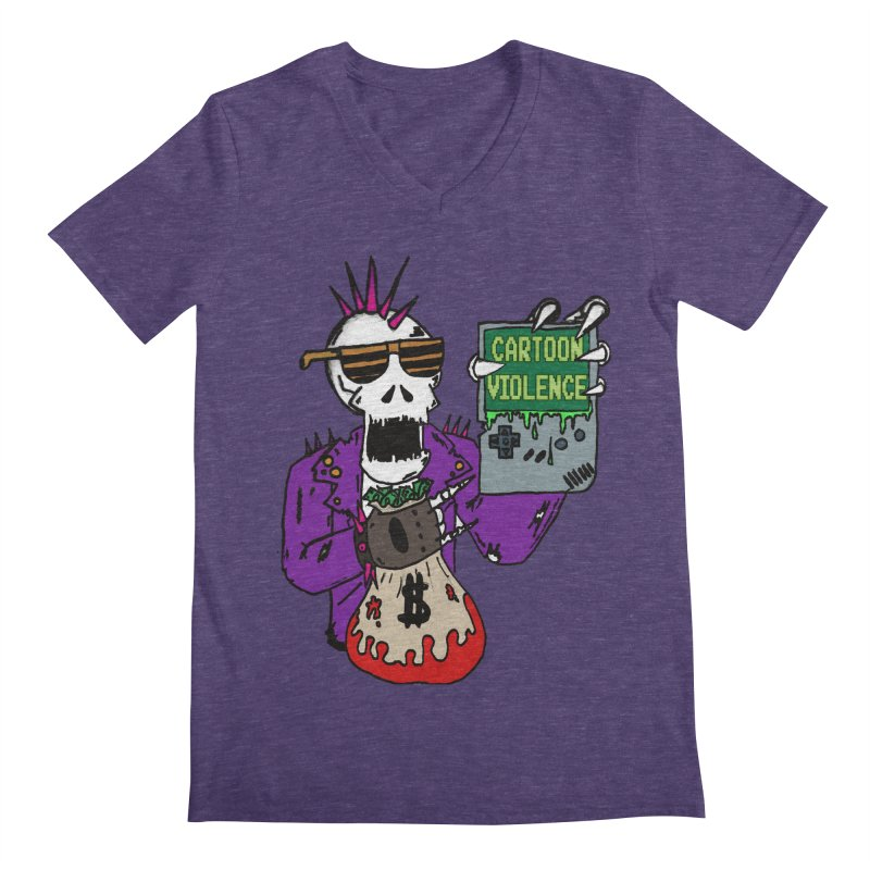 Death Taxes and Chiptunes Men's Regular V-Neck by Shirts by Cartoon Violence