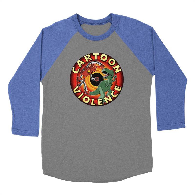 Robots and Dinosaurs CD (art by Adam Davis) Men's Baseball Triblend Longsleeve T-Shirt by Shirts by Cartoon Violence