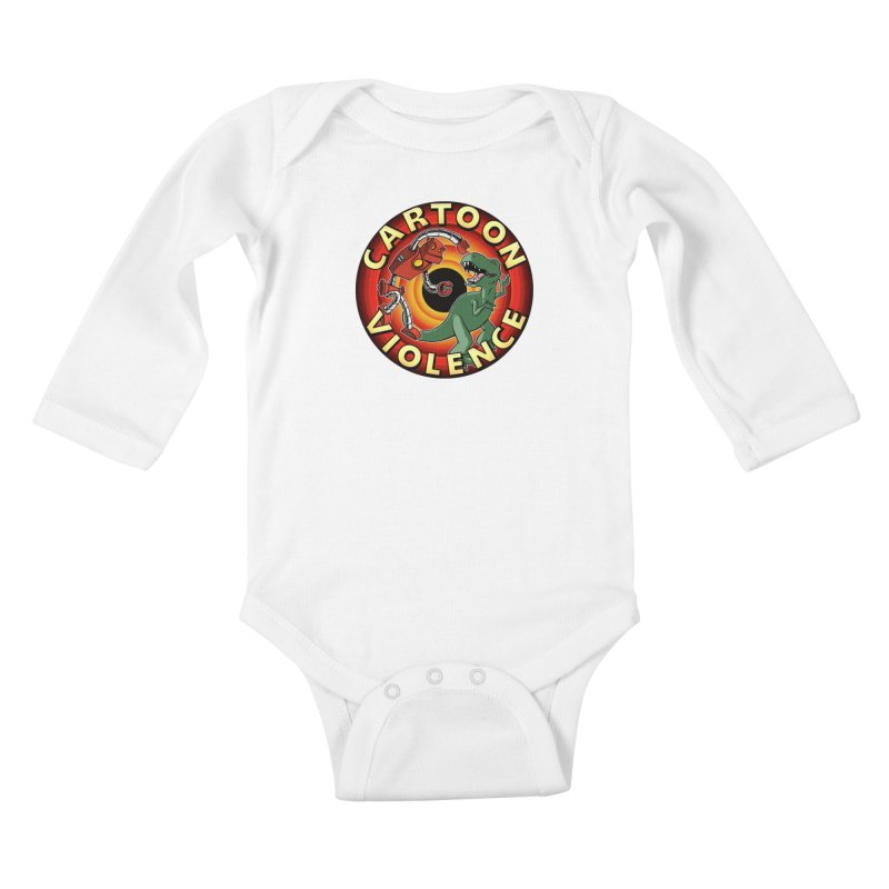 Robots and Dinosaurs CD (art by Adam Davis) Kids Baby Longsleeve Bodysuit by Shirts by Cartoon Violence