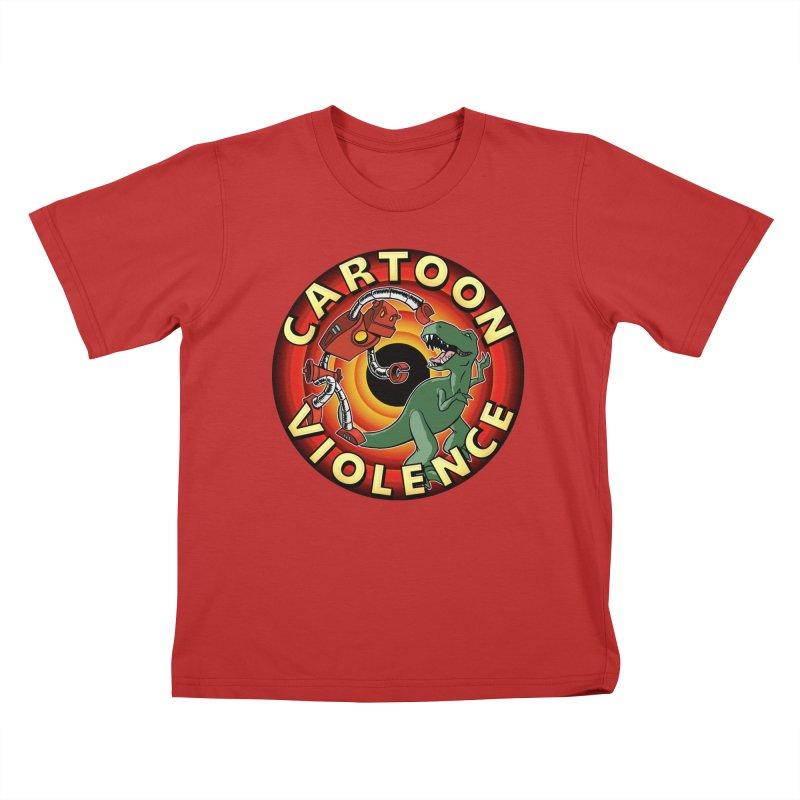Robots and Dinosaurs CD (art by Adam Davis) Kids T-Shirt by Shirts by Cartoon Violence