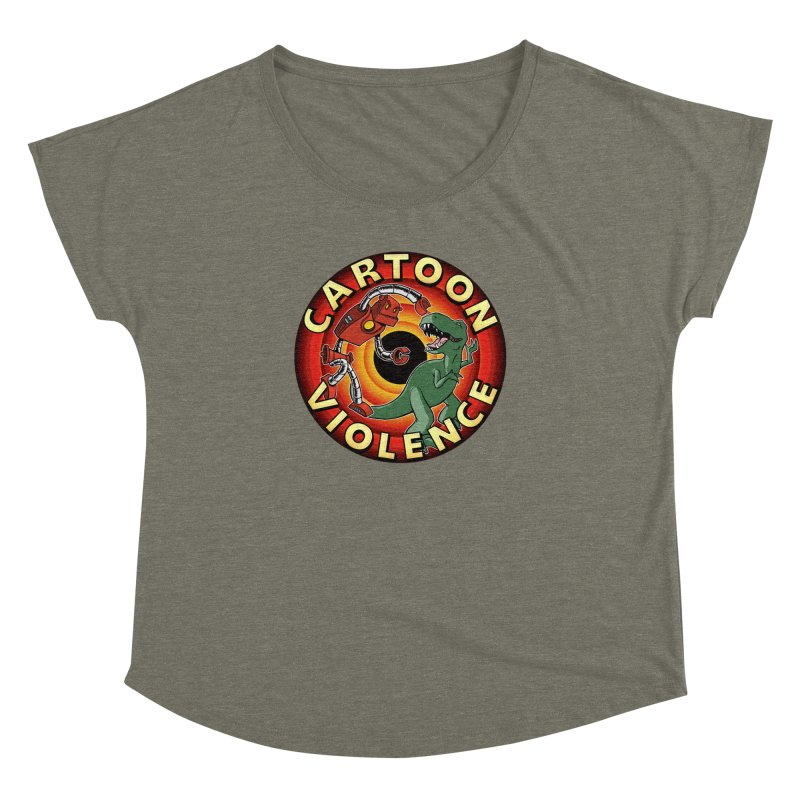 Robots and Dinosaurs CD (art by Adam Davis) Women's Dolman Scoop Neck by Shirts by Cartoon Violence