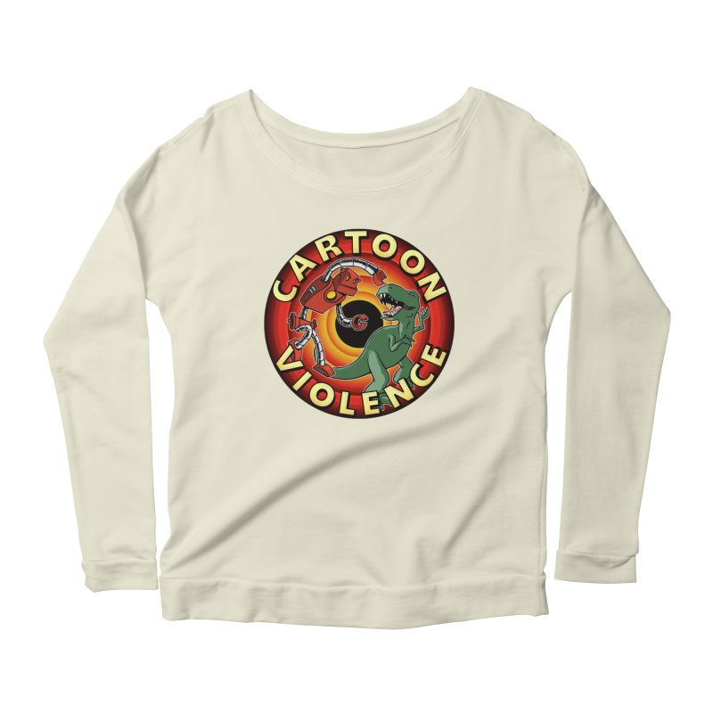 Robots and Dinosaurs CD (art by Adam Davis) Women's Scoop Neck Longsleeve T-Shirt by Shirts by Cartoon Violence