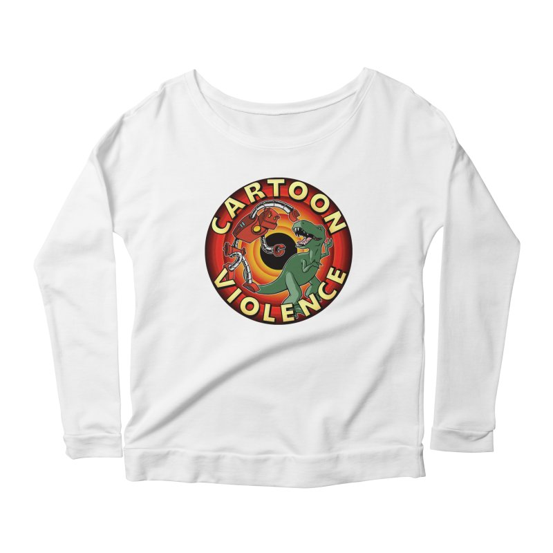 Robots and Dinosaurs CD (art by Adam Davis) Women's Scoop Neck Longsleeve T-Shirt by Shirts by Cartoon Violence