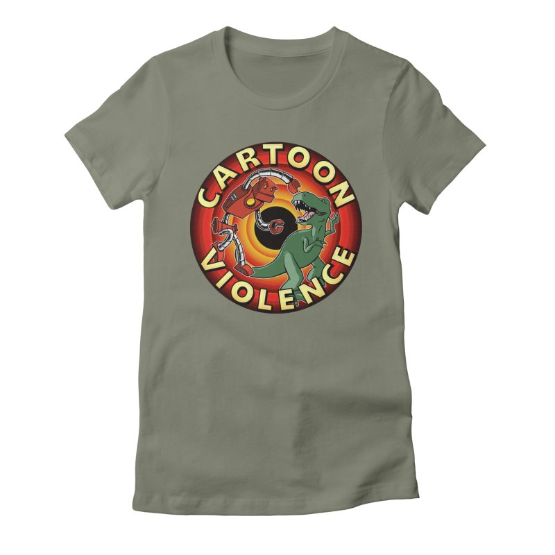 Robots and Dinosaurs CD (art by Adam Davis) Women's Fitted T-Shirt by Shirts by Cartoon Violence