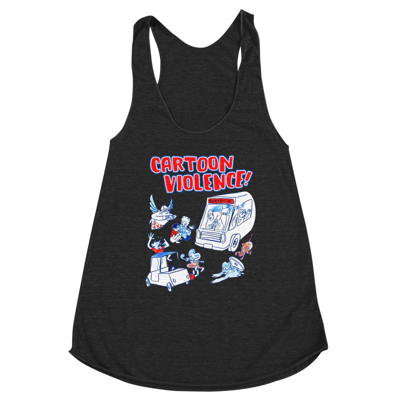 Get Ready For Cartoon Violence! Women's Racerback Triblend Tank by Shirts by Cartoon Violence