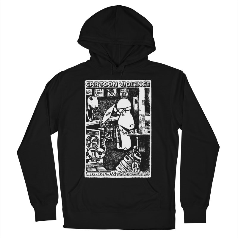 Robots and Dinosaurs (art by Chris Micro) Men's French Terry Pullover Hoody by Shirts by Cartoon Violence
