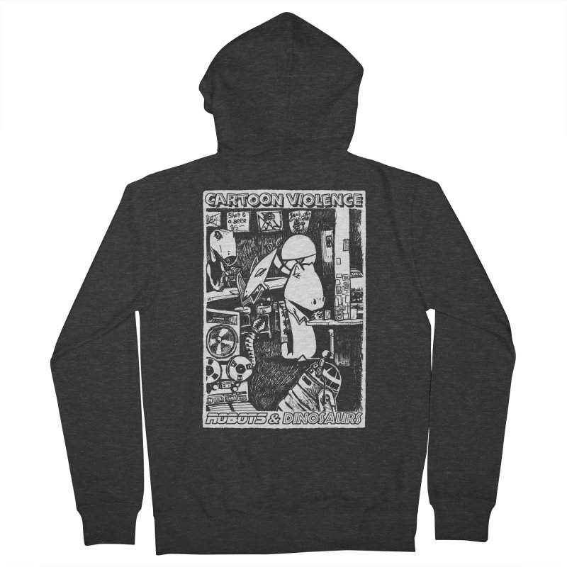 Robots and Dinosaurs (art by Chris Micro) Men's French Terry Zip-Up Hoody by Shirts by Cartoon Violence