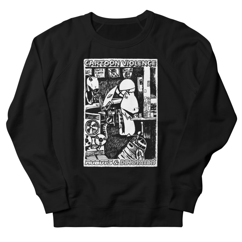 Robots and Dinosaurs (art by Chris Micro) Men's French Terry Sweatshirt by Shirts by Cartoon Violence