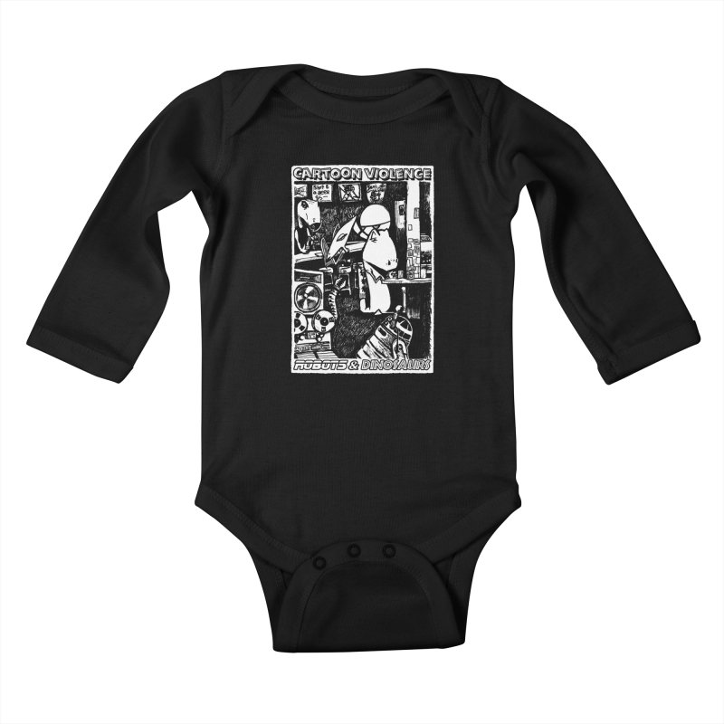 Robots and Dinosaurs (art by Chris Micro) Kids Baby Longsleeve Bodysuit by Shirts by Cartoon Violence