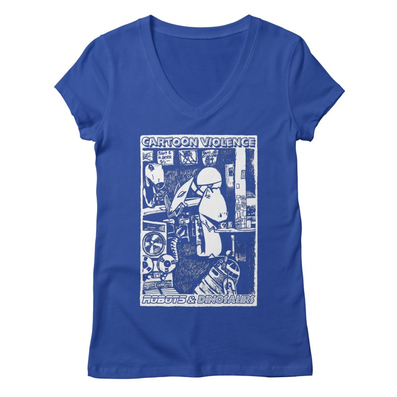 Robots and Dinosaurs (art by Chris Micro) Women's Regular V-Neck by Shirts by Cartoon Violence