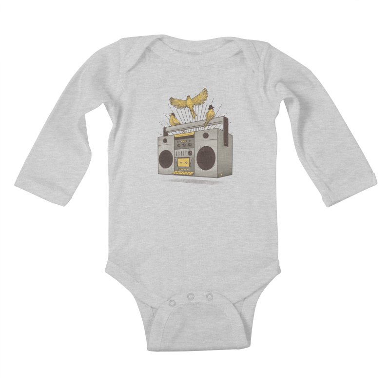 Three little birds Kids Baby Longsleeve Bodysuit by carvalhostuff's Artist Shop