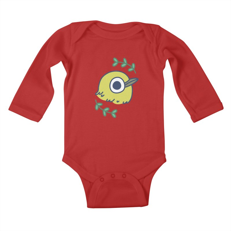 oriental white-eye Kids Baby Longsleeve Bodysuit by Casandra Ng