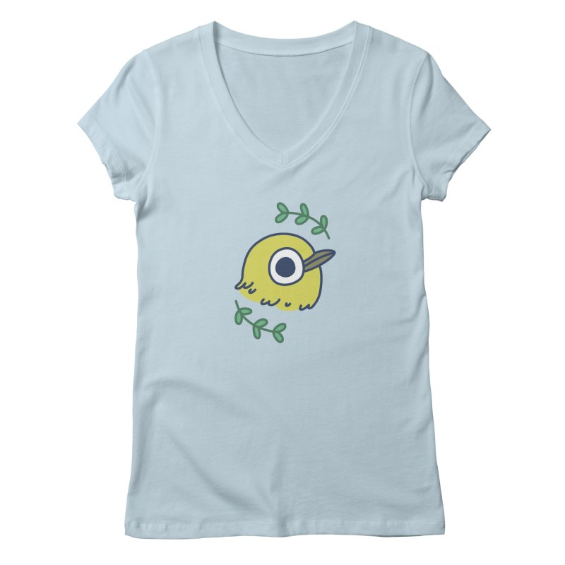 oriental white-eye Women's Regular V-Neck by Casandra Ng