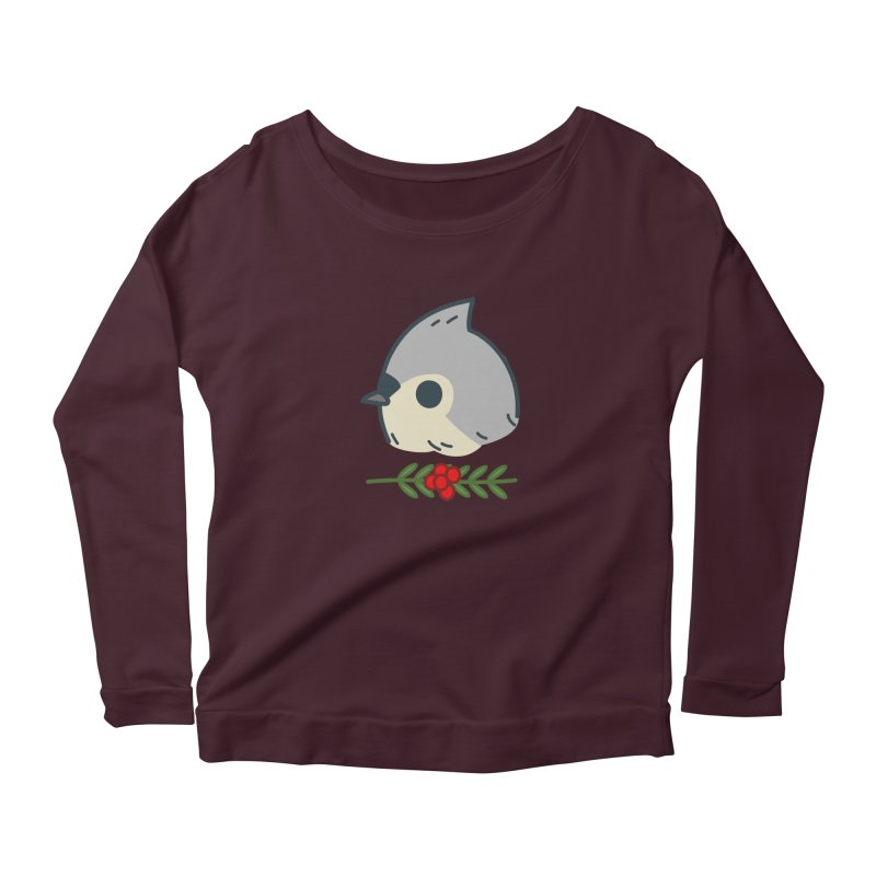 tufted titmouse Women's Longsleeve Scoopneck  by Casandra Ng