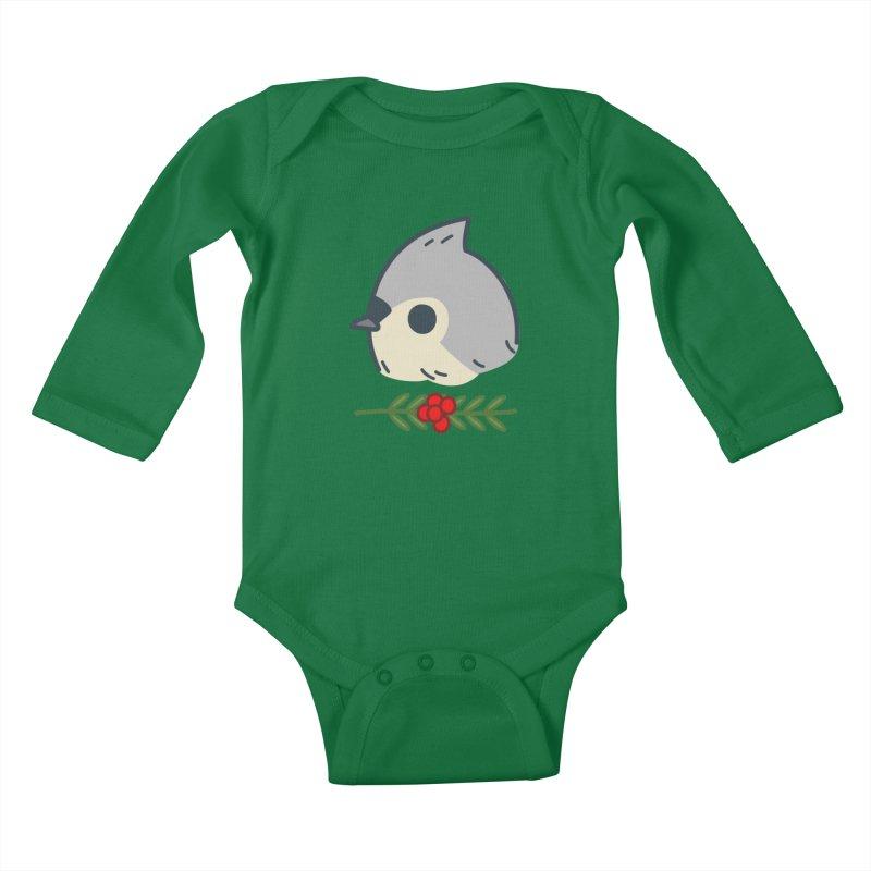 tufted titmouse Kids Baby Longsleeve Bodysuit by Casandra Ng