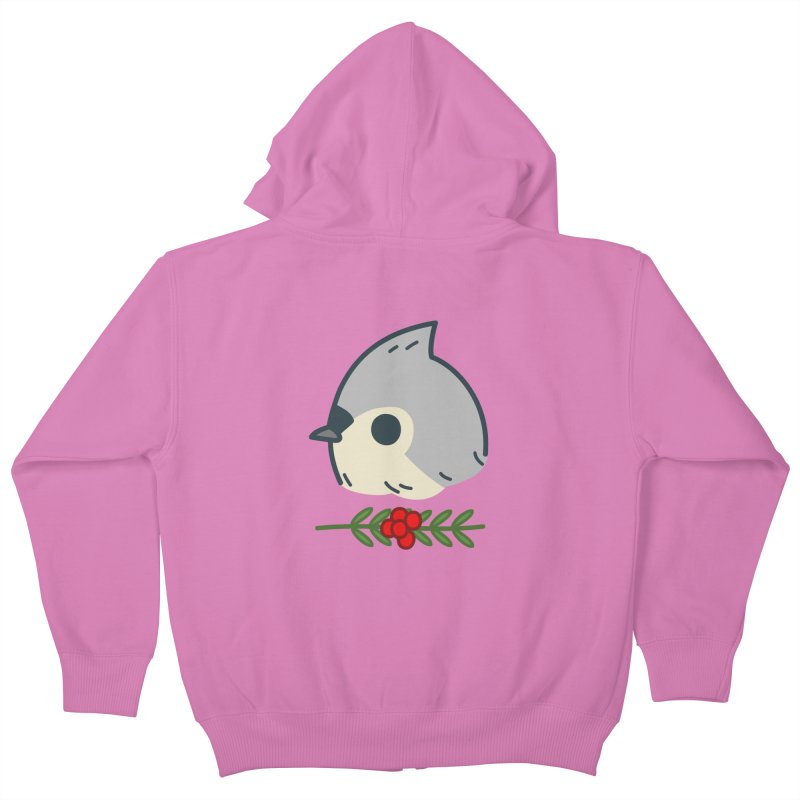 tufted titmouse Kids Zip-Up Hoody by Casandra Ng