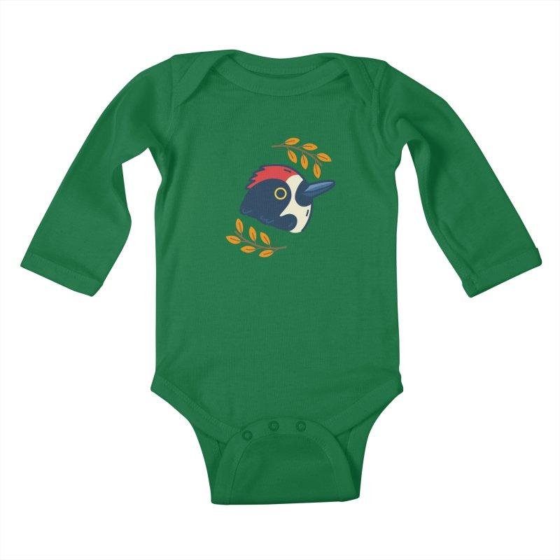 acorn woodpecker Kids Baby Longsleeve Bodysuit by Casandra Ng