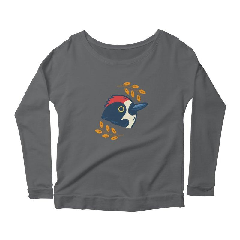 acorn woodpecker Women's Scoop Neck Longsleeve T-Shirt by Casandra Ng