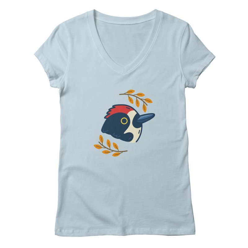 acorn woodpecker Women's Regular V-Neck by Casandra Ng