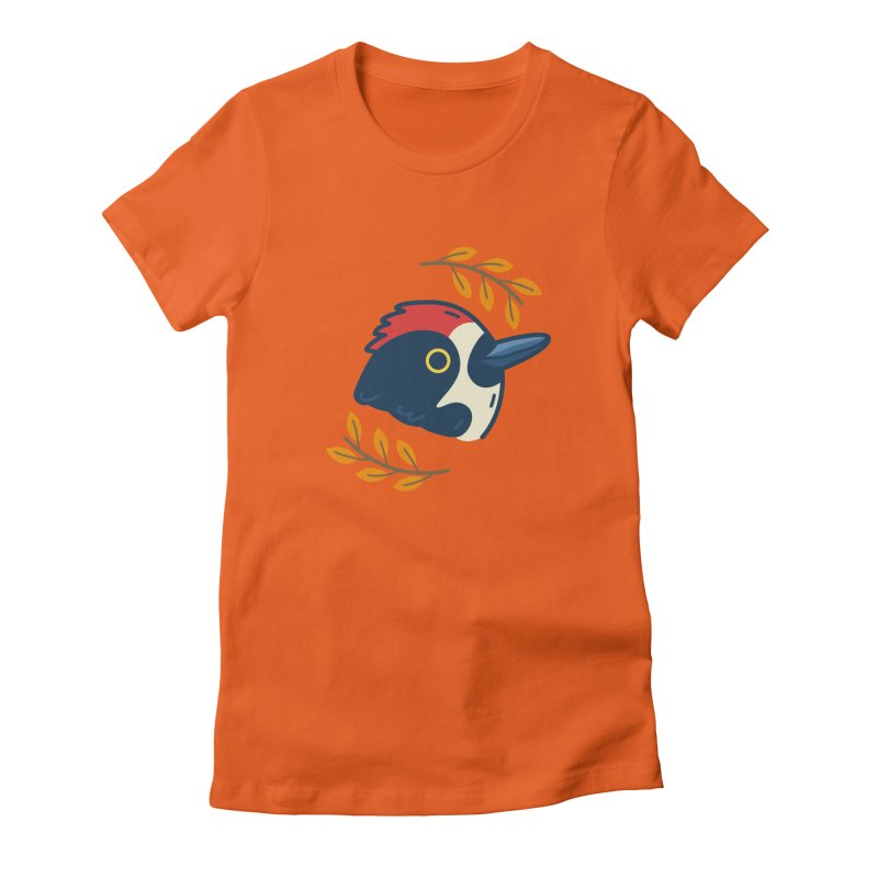acorn woodpecker Women's Fitted T-Shirt by Casandra Ng