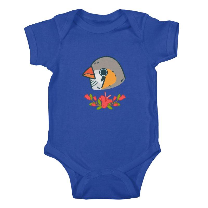 zebra finch Kids Baby Bodysuit by Casandra Ng