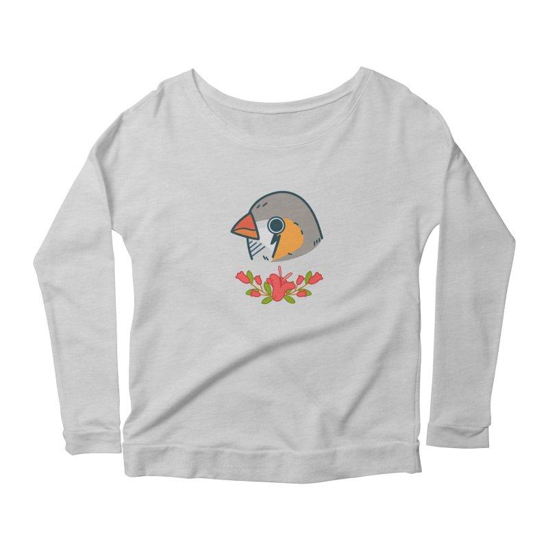zebra finch Women's Scoop Neck Longsleeve T-Shirt by Casandra Ng