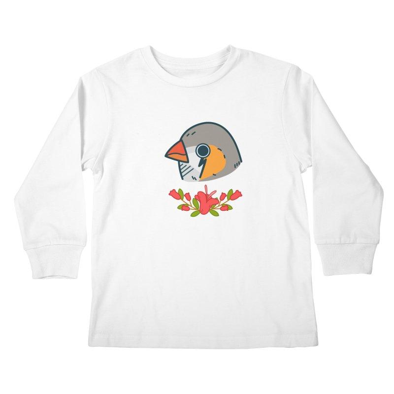 zebra finch Kids Longsleeve T-Shirt by Casandra Ng