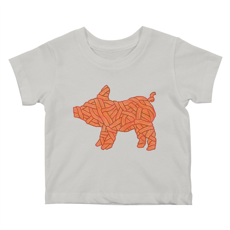 lil' bacon Kids Baby T-Shirt by Casandra Ng