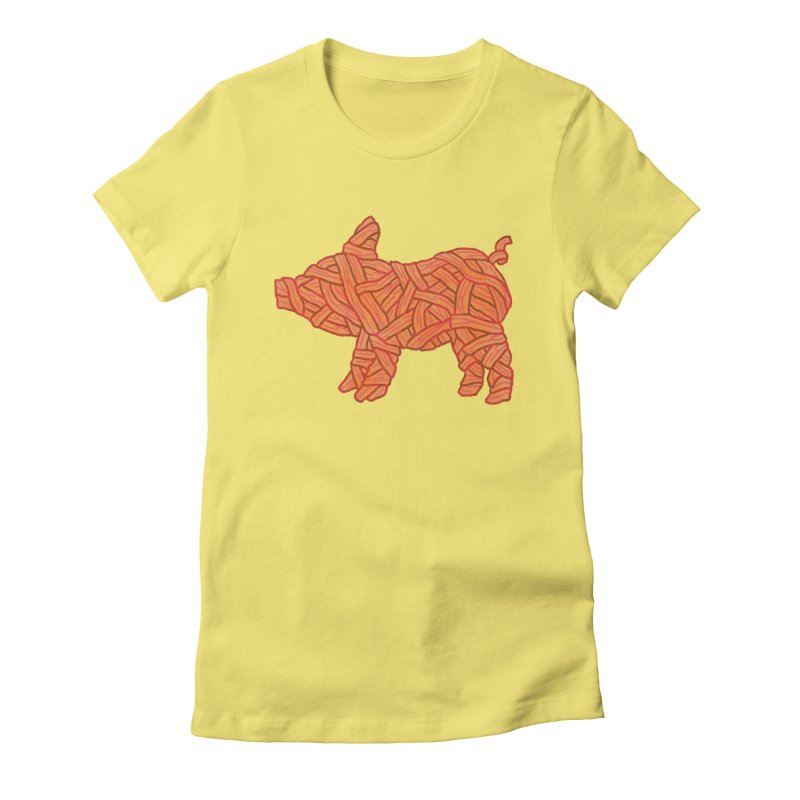 lil' bacon Women's Fitted T-Shirt by Casandra Ng
