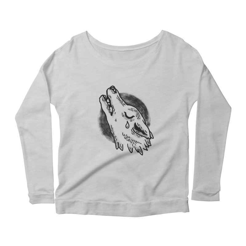 crying wolf Women's Longsleeve Scoopneck  by Casandra Ng