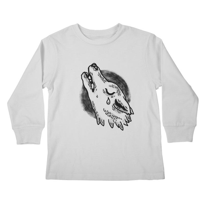 crying wolf Kids Longsleeve T-Shirt by Casandra Ng