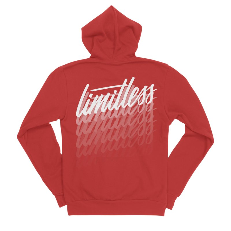 Limitless - White Men's Zip-Up Hoody by Original hand lettered apparel