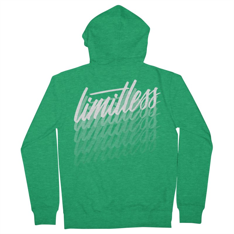 Limitless - White Women's Zip-Up Hoody by Original hand lettered apparel