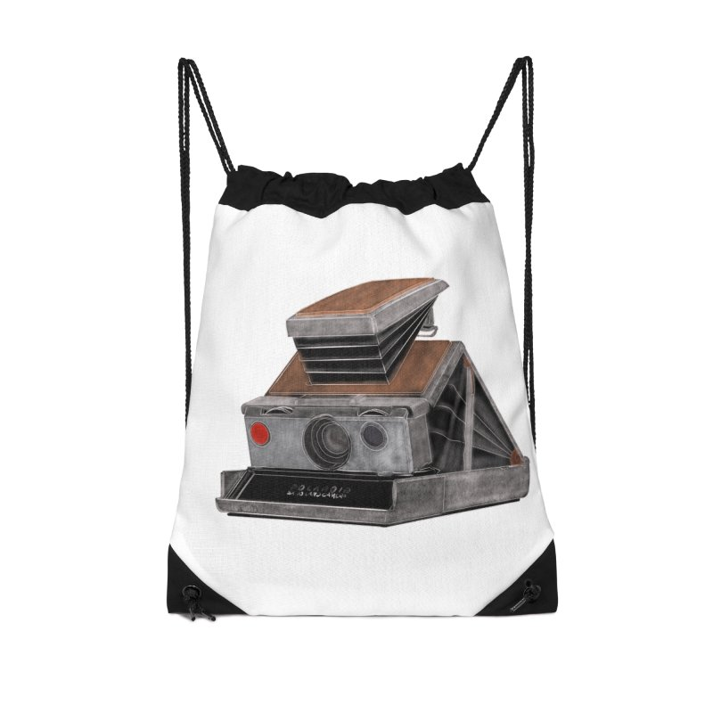 Polaroid SX10 Land Camera Accessories Drawstring Bag Bag by RE Casper Studio