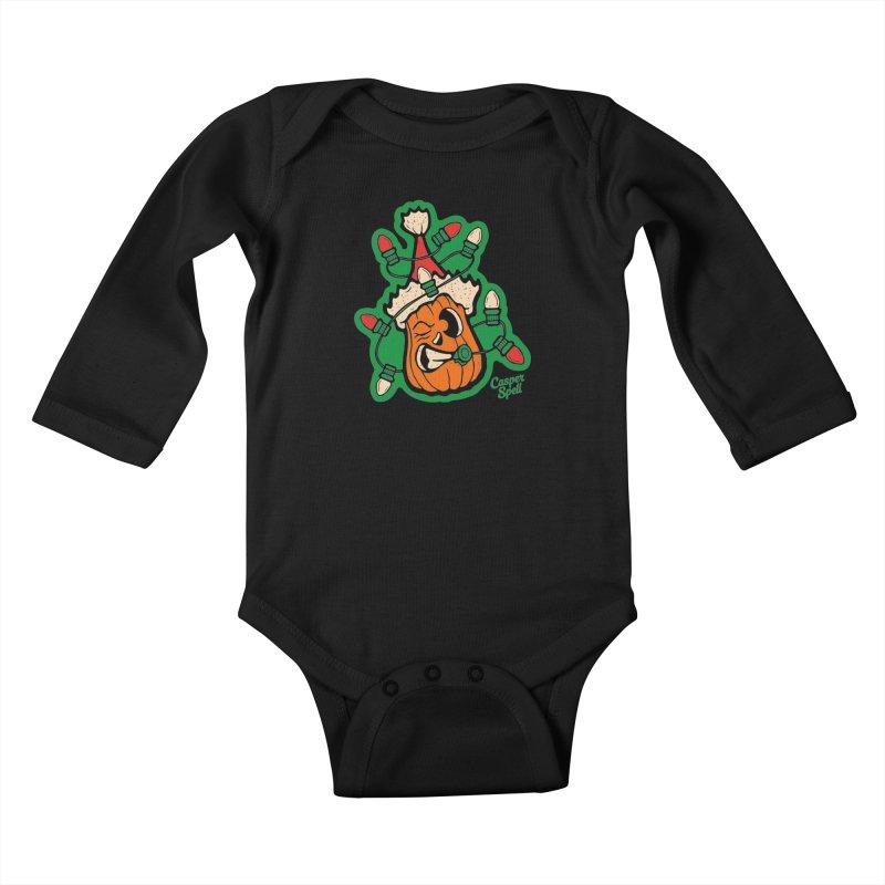 Halloween Gettin' Lit for Xmas Kids Baby Longsleeve Bodysuit by Casper Spell's Shop