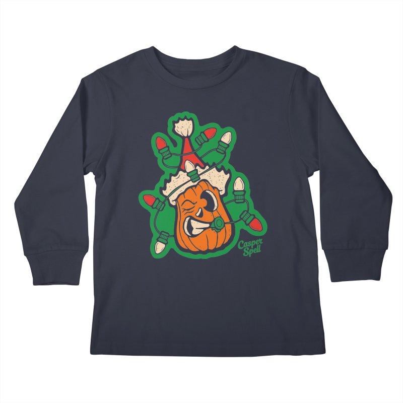 Halloween Gettin' Lit for Xmas Kids Longsleeve T-Shirt by Casper Spell's Shop