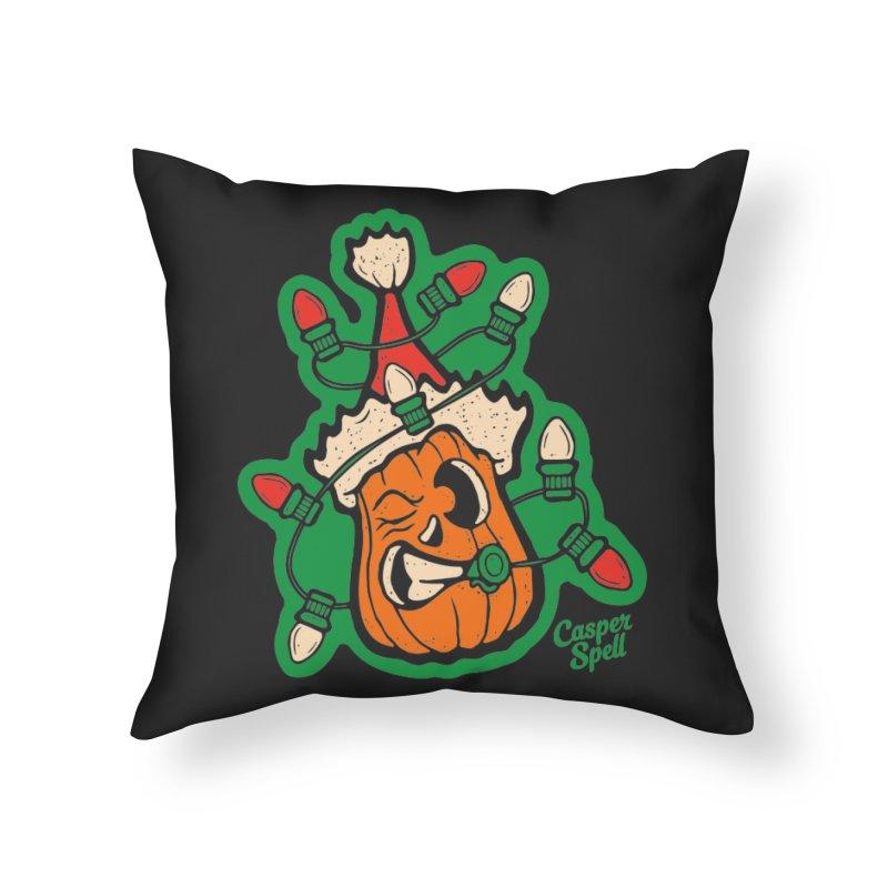 Halloween Gettin' Lit for Xmas Home Throw Pillow by Casper Spell's Shop