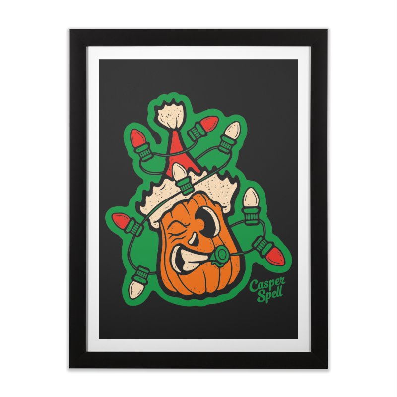Halloween Gettin' Lit for Xmas Home Framed Fine Art Print by Casper Spell's Shop
