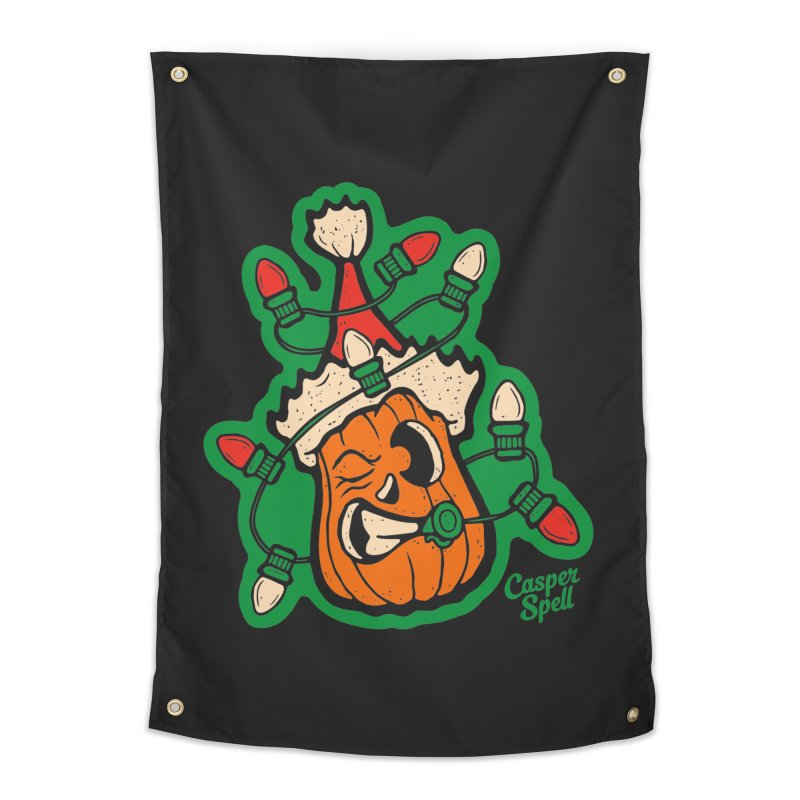 Halloween Gettin' Lit for Xmas Home Tapestry by Casper Spell's Shop