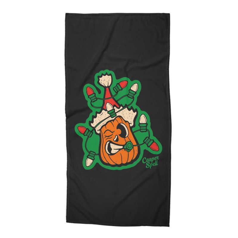 Halloween Gettin' Lit for Xmas Accessories Beach Towel by Casper Spell's Shop