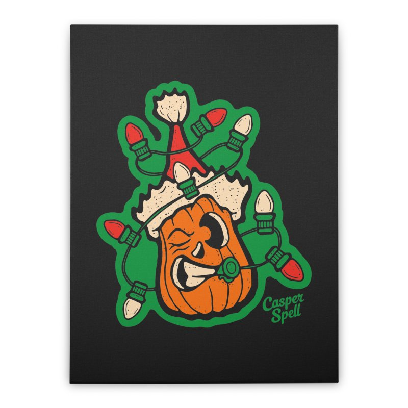 Halloween Gettin' Lit for Xmas Home Stretched Canvas by Casper Spell's Shop