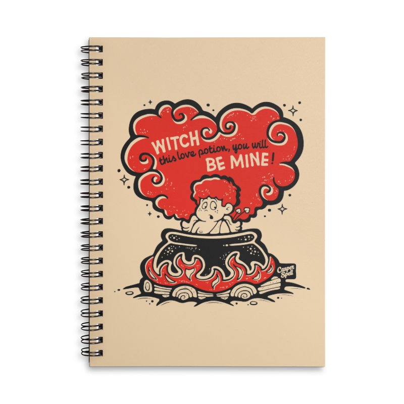 Cupid in Cauldron by Casper Spell Accessories Lined Spiral Notebook by Casper Spell's Shop