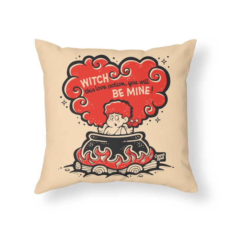Cupid in Cauldron by Casper Spell Home Throw Pillow by Casper Spell's Shop