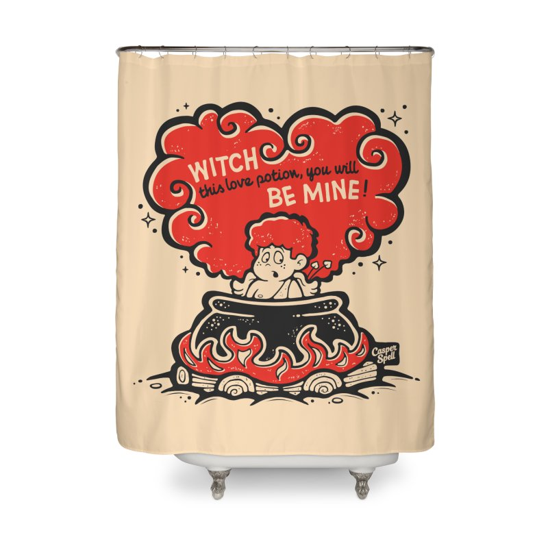 Cupid in Cauldron by Casper Spell Home Shower Curtain by Casper Spell's Shop